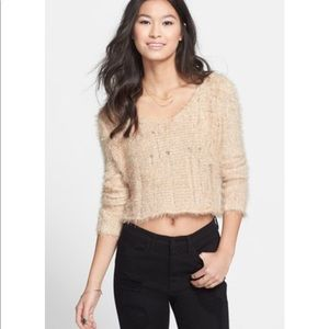BP Nude Fuzzy Crop Sweater Size Small